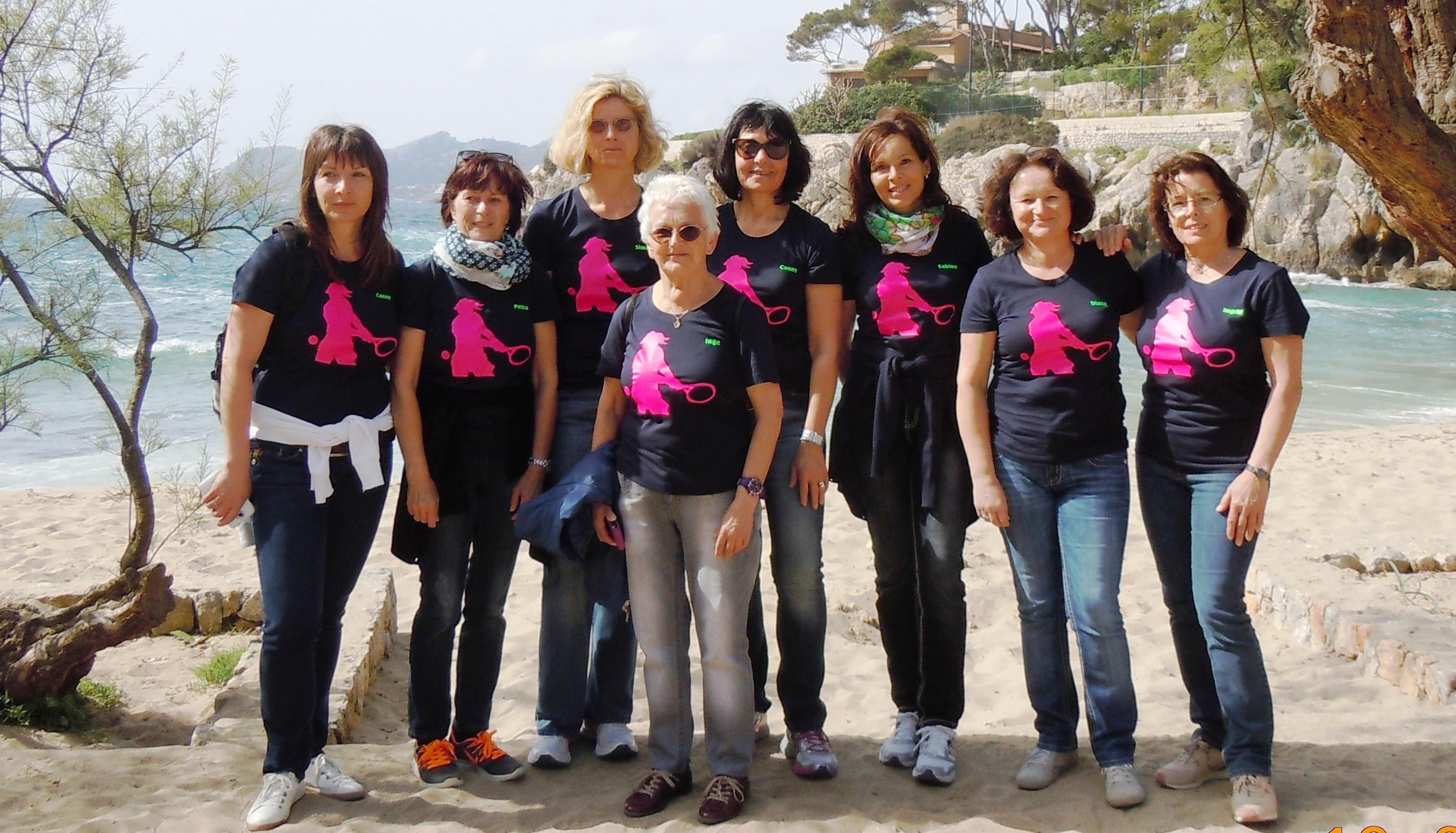 Damen 40: Hinten, von links: Cornelia Leibrich, Petra Zohn, Simone Ebert, Cornelia Pommerening, Sabine Diehl, Diana Jakob, Ingrid Schinz.  Vorne: Inge Pome (es fehlt: Birgitt Rüd)